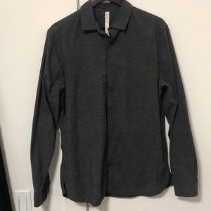 Men's Textured Grey Button-Up